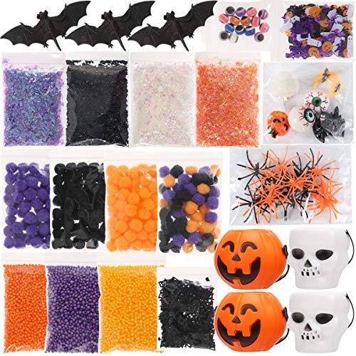 Luclay DIY Schleim Halloween Zubehör enthalten Augäpfel,Fledermäuse,Kürbisscheiben, Geschenk für Kinder