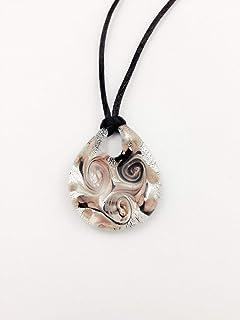 Murano Glass Drop Necklace - Silver Black