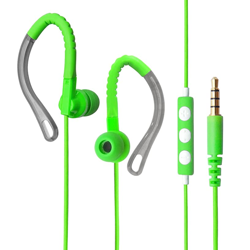 MAXROCK (TM 3.5mm Stereo Audio Headphones for Running with Microphone and Volume Control Wired Earbuds for Cellphones, Tablet.(Green)
