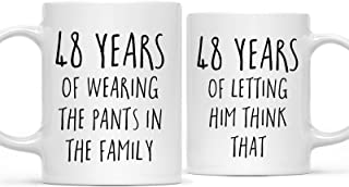 Andaz Press Funny 48th Wedding Anniversary 11oz. Couples Coffee Mug Gag Gift, 48 Years of Wearing The Pants in The Family, Letting Him Think That, 2-Pack with Gift Box for Husband Wife Parents