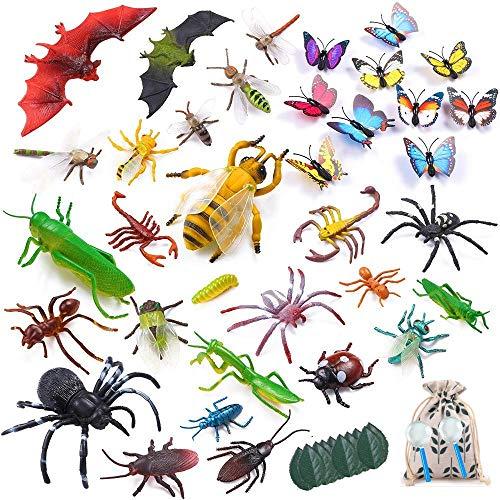 LATERN 45Pcs Figuras de Insectos Plásticos Kits, 35Piezas de Insectos Surtidos de Insectos Realistas Figuras de Juguete para la Educación Infantil, Favores de Fiesta con Temas de Insectos