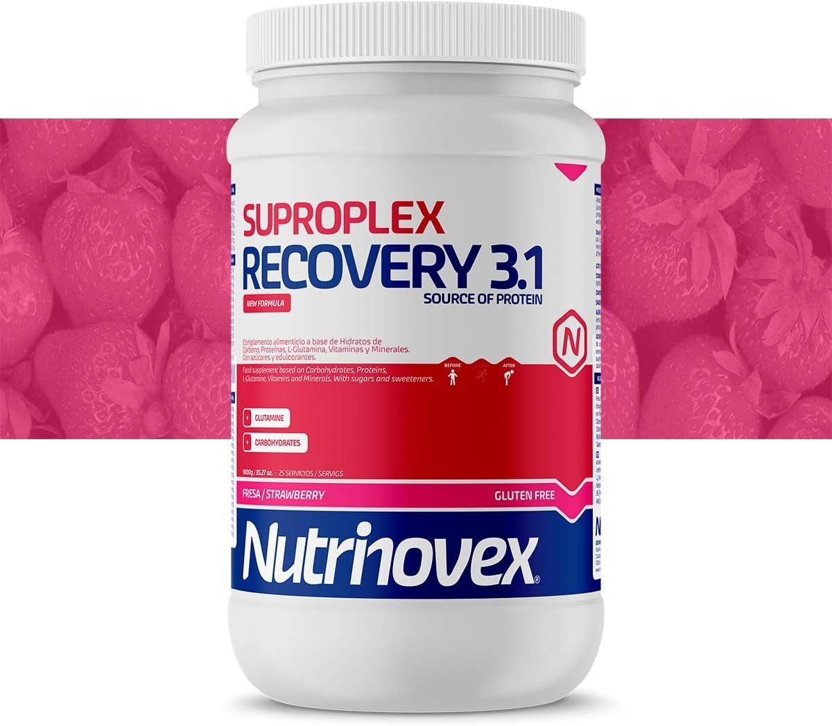 Nutrinovex Suproplex Recovery 3.1. con Glutamina, Minerales y Vitaminas (Fresa, 1000 g)