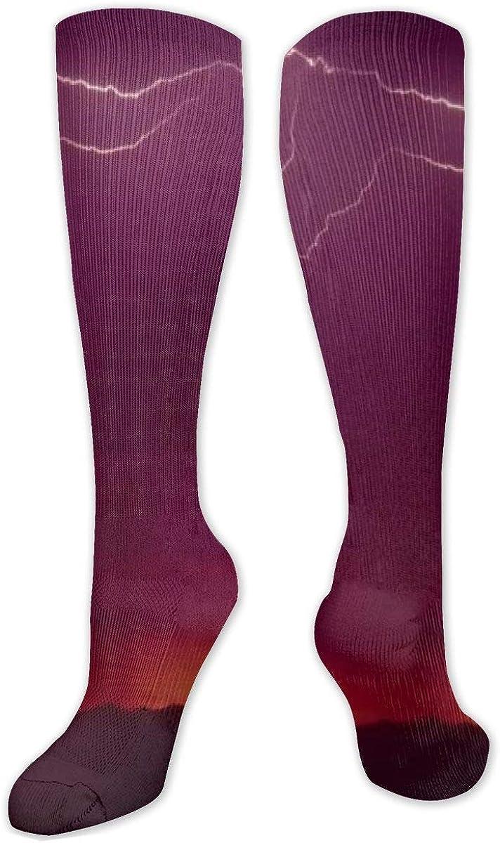 High Energy Lightning Bolt Knee High Socks Leg Warmer Dresses Long Boot Stockings For Womens Cosplay Daily Wear