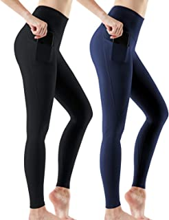 ATHLIO Women's (Pack of 2, 3) Yoga Pants High-Rise Tummy Control w Hidden/Side Pocket