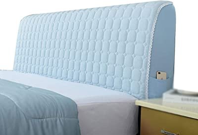 Bed Headboard CoverPolyester Fiber elasticityStretch Bed Head Protector Cover Solid Color Bedroom Decoration (Color : Beige, Size : 2.2x75x40cm)