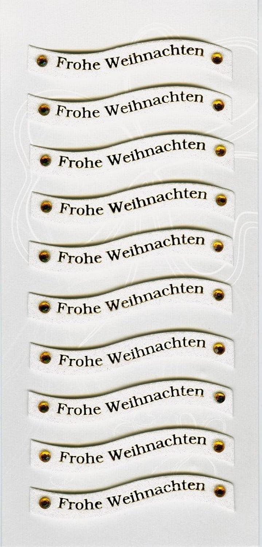 Rössler Papier - - W-Sticker - Frohe Weihnachten (weiß Gold) (10 Elemente) - Liefermenge  6 Stück B07CX6SL2G | Niedrige Kosten