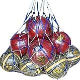(リッチェ) Ricce 大容量 ! バスケットボール 10個 収容 特大 メッシュ ボールネット 網袋 ネット 簡易バッグ キャリーバッグ 袋 サッカーボール バレーボール フットサル バスケ サッカー バレー 学生 部活 試合 練習 (ブルー Blue, 10個)