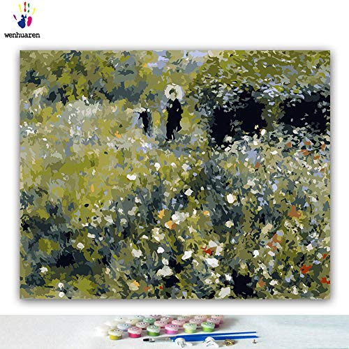 Paint by Number Kits 16 x 20 inch Canvas DIY Oil Painting for Kids, Students, Adults Beginner with Brushes and Acrylic Pigment -Woman with a Parasol in a Garden Pierre Auguste Renoir(Without Frame)