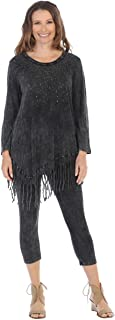 Jess & Jane Women's Galaxy Mineral Washed Cotton Fringe Tunic Top