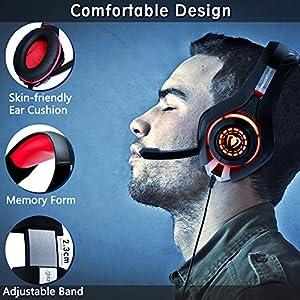Beexcellent GM-1RED Gaming Kopfhörer für PS4 PC Xbox One, LED Light, rot