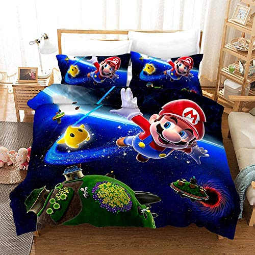 BLSM Mario Game 3D Printed Microfibre Duvet Cover and Two Pillowcases, 11, Single 135x200cm