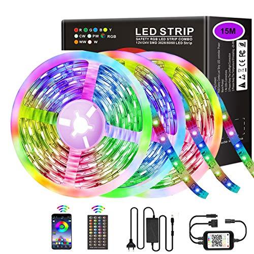 LED Streifen Licht 15M RGB LED Band, 3x5m Bluetooth LED Strip 450 LEDs 5050 SMD Lichtband LED Lichtleiste Sync zur Musik,mit APP-Steuerung und 44 Tasten Fernbedienung Für Haus,Garten,Schlafzimmer
