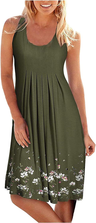 Casual Dresses for Women Sleeveless Summer Beach Dress A Line Midi Sundresses American Flag Patriotic Dress