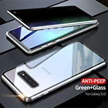 IQIYEVOLEW Anti-Peep Galaxy S10 Case, Anti-spy Magnetic Clear Double-Sided Privacy Screen Protector Metal Bumper 360°Full Body Case for Galaxy S10 (S10 Silver)
