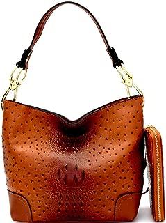 Soft Ostrich Print Vegan Leather Side Ring Large Snap Hook Medium Hobo Bag Purse Wallet SET