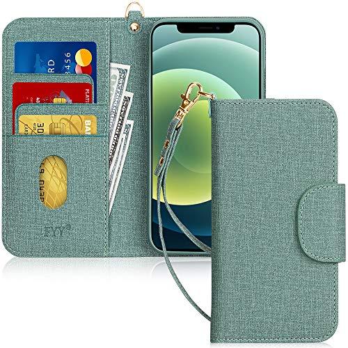 """Fyy - Custodia a portafoglio per iPhone 12 Pro Max, realizzata a mano, in pelle PU, antiurto, con porta carte di credito e tasca per appunti, per Apple iPhone 12 Pro Max 7,7"""" (2020), colore: Verde"""