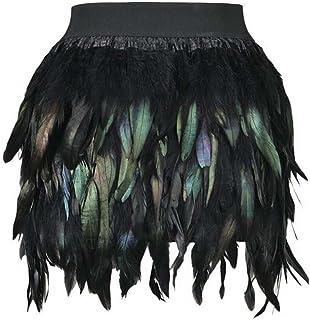 comprar comparacion ANSUG Mujeres Falda de Plumas Negras Mini Pretina elástica A-Line Faldas Disfraz de Carnaval para Halloween Navidad