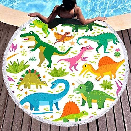 Gbcyp Cartoon Gedrukt Dinosaurus Ronde Strandhanddoeken Microfiber Badhanddoek Schattige Dieren Panda Deken voor Kinderen Jongens Meisjes Cadeau, 4, Diameter 150CM