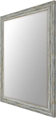 999Store Fiber Framed Decorative Wall Mirror or Bathroom Mirror Brown Grey (24x18 Inches)