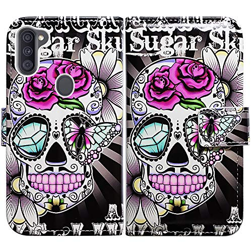 Galaxy A11 Case (US Version),Bcov Purple Flower Sugar Skull Leather Flip Case Wallet Cover with Card Slot Holder Kickstand for Samsung Galaxy A11 2020