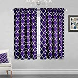 KEQIAOSUOCAI Purple Moroccan Trellis Blackout Curtains for Girls Room with Rod Pocket Thermal Insulated Drapes for Living Room - 52 x 63 Inch Length 1 Panel