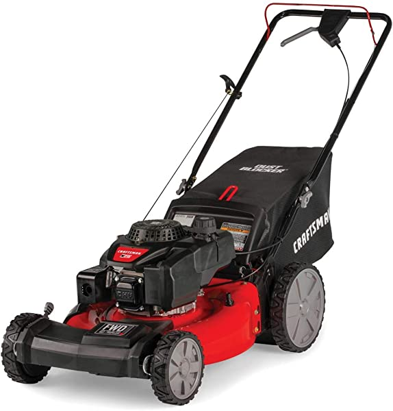 Craftsman M215 159cc 21 Inch 3 In 1 High Wheeled FWD Self Propelled Gas Powered Lawn Mower With Bagger