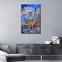 TUMOVO Canvas Wall Art Big Ben Painting One Panel London Cityscape Picture Prints, England Night View Modern Artwork Wall ...