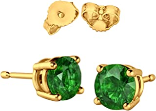 Solitaire Stud Post Earring Round Simulated Green Emerald Yellow Tone Plated 925 Sterling Silver