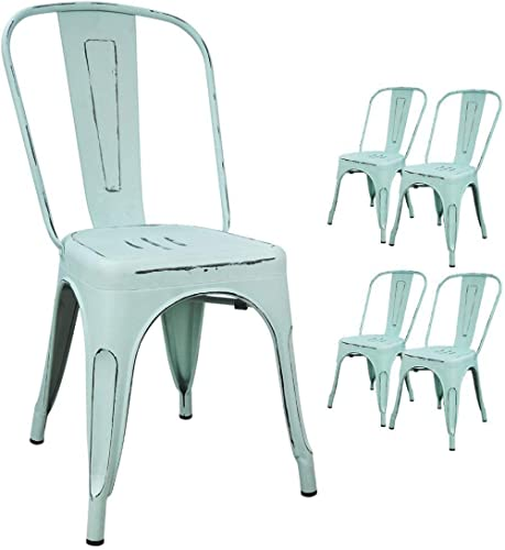 Devoko Metal Indoor-Outdoor Chairs Distressed Style Kitchen Dining Chairs Stackable Side Chairs with Back Set of 4 (B...