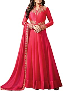 Ethnic Empire Women's Georgette Semi Stitched Anarkali Salwar Suits (EE_FlexER11039_Pink_Free Size)