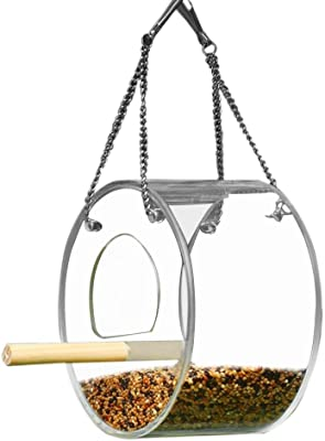 S_HomeStore Window Bird Feeder Clear Acrylic Round Bird Feeder Hanging Birdhouse Kits with Metal Chain Idea for Small Wild Bird