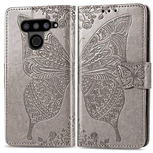 Bravoday Handyhülle für LG V50 ThinQ 5G Hülle, Stoßfest PU Leder Tasche Flip Hülle Schutzhülle für LG V50 ThinQ 5G, mit Kartenfäch und Kickstand, Grau