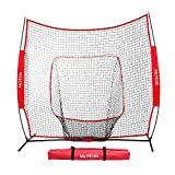 McHom 7ft x 7ft Baseball & Softball Practice Net for Hitting & Pitching Practice with Bow...