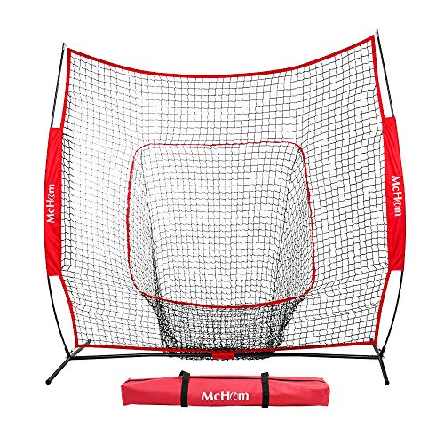 McHom 7ft x 7ft Baseball & Softball Practice Net for Hitting & Pitching Practice with Bow Frame, Collapsible and Portable