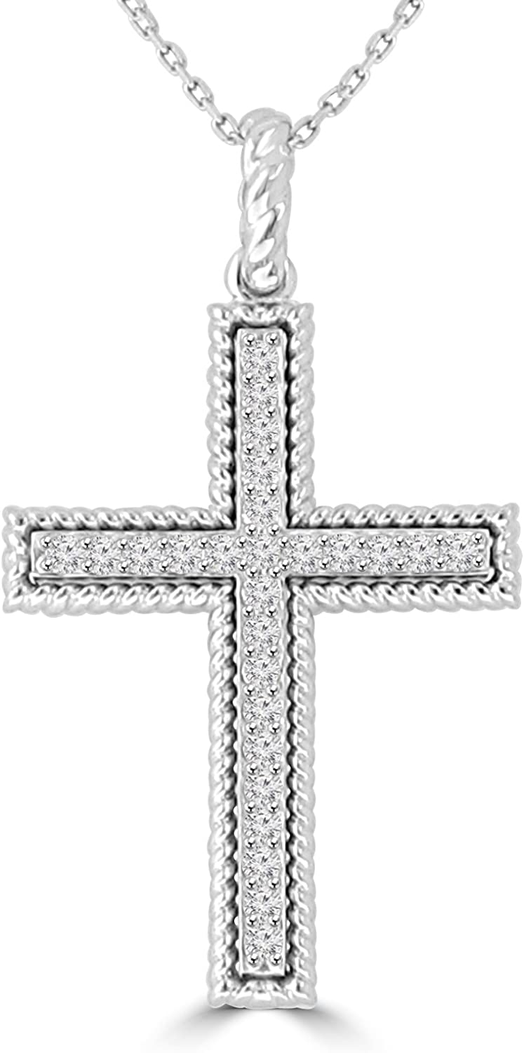Madina Jewelry 0.45 ct Ladies Round Cut Diamond Cross Pendant Necklace (G Color SI-1 Clarity) in 14 kt White Gold