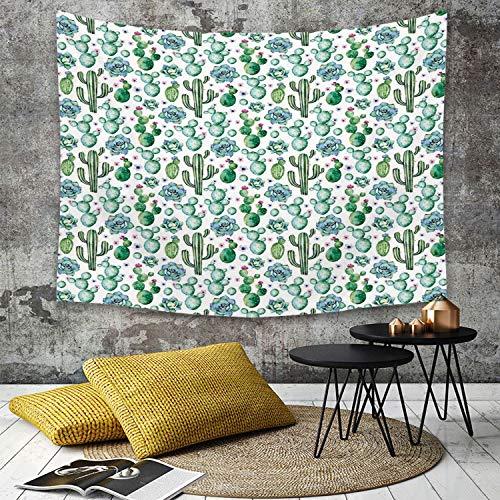 Tapestry,Hippie Tapiz,tapiz de pared con decoración para el hogar,Decoración De Cactus, Colección De Plantas Exóticas Pintadas A Mano Sagu,para picnic Mantel o Toalla de Playa redonda 130 x 15