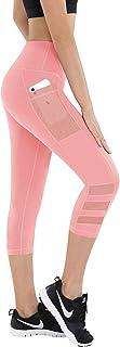 QVESELU Women's Capri Pants with Pocket High-Waist Athletic Active Legging Running Yoga Sports