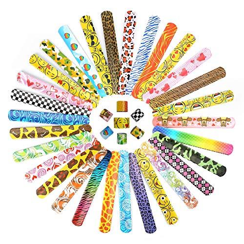 Ucradle Slap Bracelet à Claquer, 30Pcs Slap Bandes, Bracelets à Claquer pour Enfant avec Coeurs Colorés Animaux Emoji Motifs Parti Sac Remplisseurs Cadeau de Fête pour Enfants