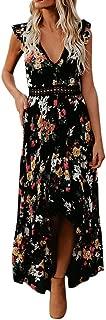 Kiyotoo Women's Summer Deep V-Neck Casual Dress Summer Backless Floral Print/Boho Split Maxi Dress for Beach Party