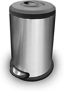 HOME BRILLIANT Stainless Steel Modern Kitchen Trash Can 40 Liter Disposal Bin with Manual Hand Compactor Slow Close Foot Pedal Lid