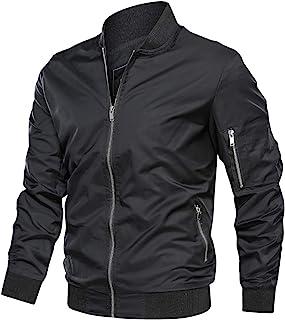 Men's Jacket-Lightweight Casual Spring Fall Flight Bomber Zip Pockets Coat Outwear