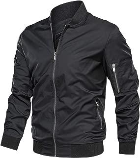 TACVASEN Men's Jacket-Lightweight Casual Spring Fall Flight Bomber Zip Pockets Coat Outwear