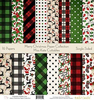Pattern Paper Pack - Merry Christmas - Scrapbook Specialty Paper Single-Sided 12