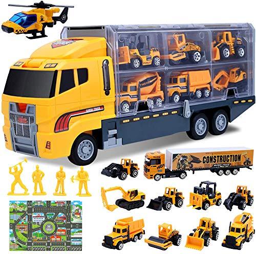 Camión de Ingeniería 16 Piezas Juguetes de VehíCulos de Construcción,Alfombra Educativa se TráFico, Camiones, Modelos de Trabajadores Juguete para Niños 3 4 5 6 Años (16 in 1)