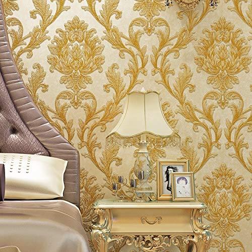 LSWSSD Europäische Art-Blumen-geprägte Vliestapete-Damast-Wand-Abdeckungs-Rollenluxus 3D Tapeten für Wohnzimmer Papel De Pared 5,3? Beige
