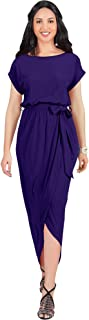 Womens Short Sleeves Round Neck Solid Draped Asymmetrical Maxi Dress