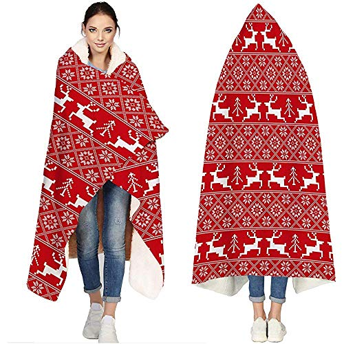 Soft Fleece Sherpa Wearable Travel Warm Cozy Throw Blanket Poncho Christmas Reindeer Design Snowflake Flannel Cloak Cape Hoodies,50'x40'