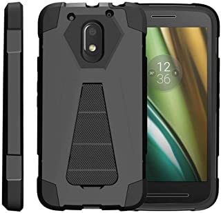 TurtleArmor | Compatible with Motorola Moto E3 Case | Moto E 3rd Gen | Moto G4 Play Case [Dynamic Shell] Hybrid Dual Layer Hard Shell Cover Kickstand Silicone Case - Black