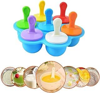 PECHTY Moldes para Helados de Silicona,Mini Moldes de Polos Libre de BPA y Reutilizable,Multifuncional Moldes de Paletas para Niños,7 Fabricantes de Paletas Heladas
