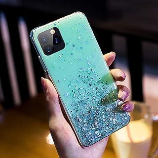 JAWSEU Glitzer skal för iPhone 11 Pro Max skal, glänsande glitter bling stjärna transparent mjuk silikon mobiltelefonskal ...
